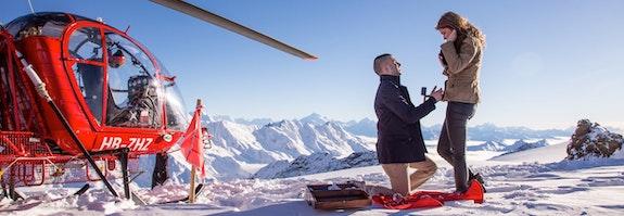 Demande en mariage sur le glacier