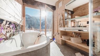 Badezimmer Chalet Steinquendel (auch Symbolbild für die Bäder aller Chalets)
